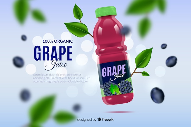 Realistic natural grape juice advertisement