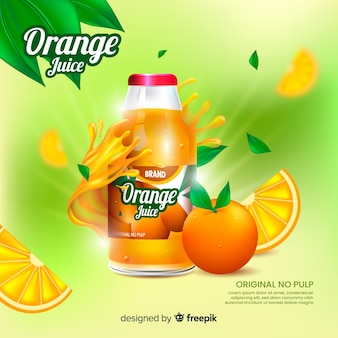 Realistic natural juice ad background