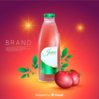 Realistic natural juice advertisement background