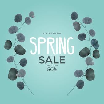 현실적인 자연 봄 판매 프레임 지점 유칼립투스 잎