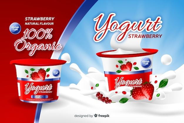 Realistic natural strawberry yogurt advertisement