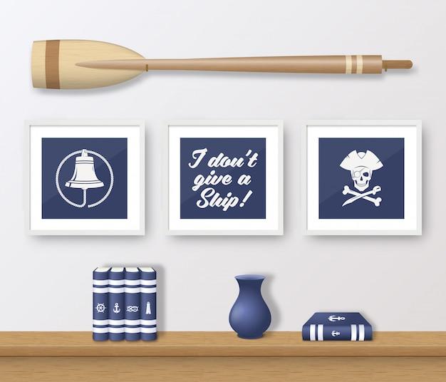 현실적인 해군 또는 해양 액자 세트, 나무 패들과 책 선반과 흰 벽 인테리어에 장착. 부드러운 그림자
