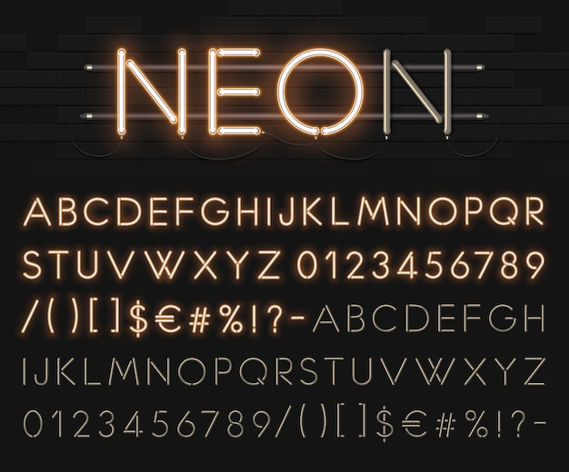 Realistic neon alphabet on a background of black brick wall. bright glowing font. format