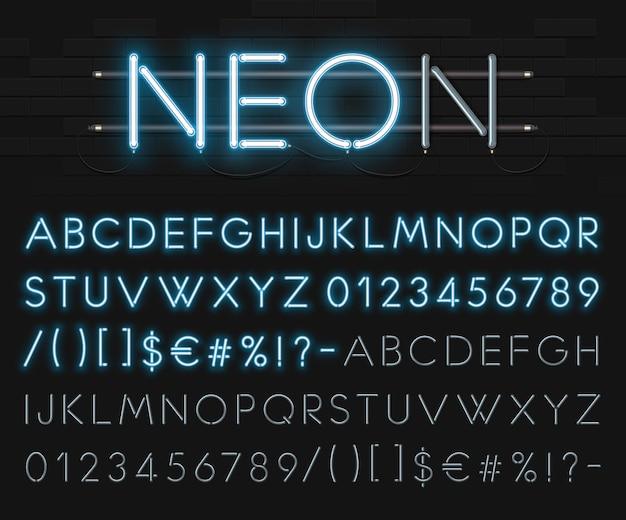 검은 벽돌 벽의 배경에 현실적인 네온 알파벳. 푸른 빛나는 글꼴. 체재