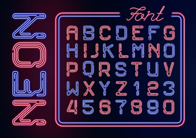 Realistic neon alphabet with neon numbers. neon typeset on dark background.
