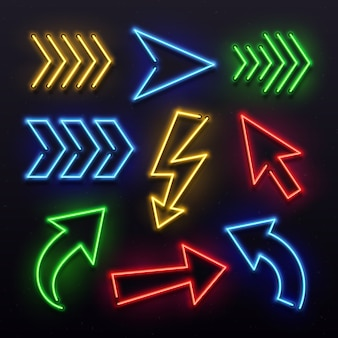 Realistic neon arrows