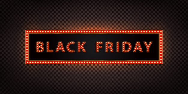 Realistic  neon billboard for black friday for decoration and covering on the transparent background. concept of sale and discount.