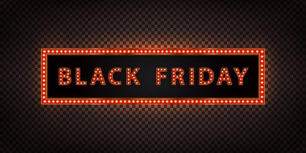 검은 금요일 장식 및 투명 배경에 대한 현실적인 네온 광고판. 판매 및 할인의 개념.