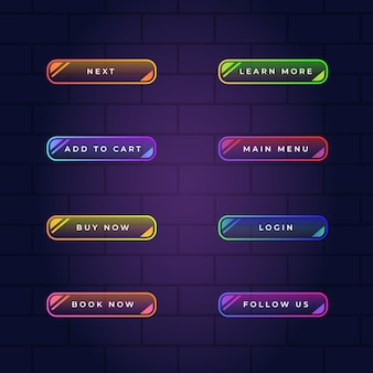 Realistic neon call to action button pack