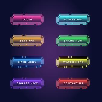 Реалистичный набор неоновых кнопок с призывом к действию