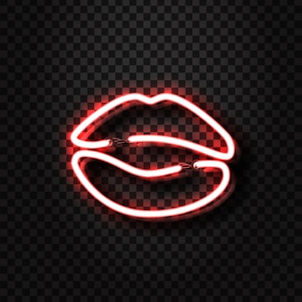 Realistic  neon erotic lips sign for decoration and covering on the transparent background. concept of erotic show and night club.