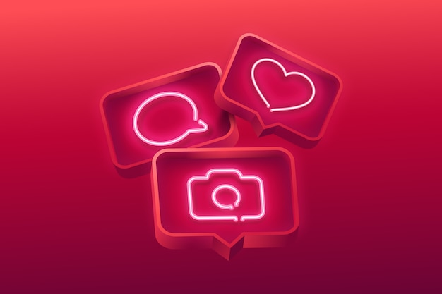 Realistic neon icons background