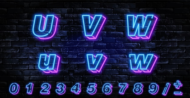 Realistic neon letters set over dark brick wall