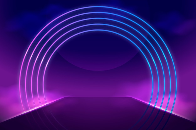 Realistic neon lights circle shape background