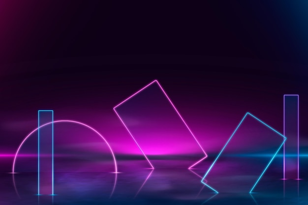 Realistic neon lights shapes background