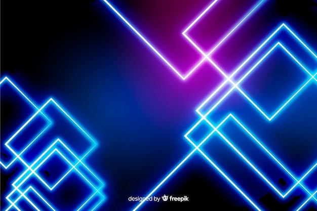 Realistic neon lights technology background