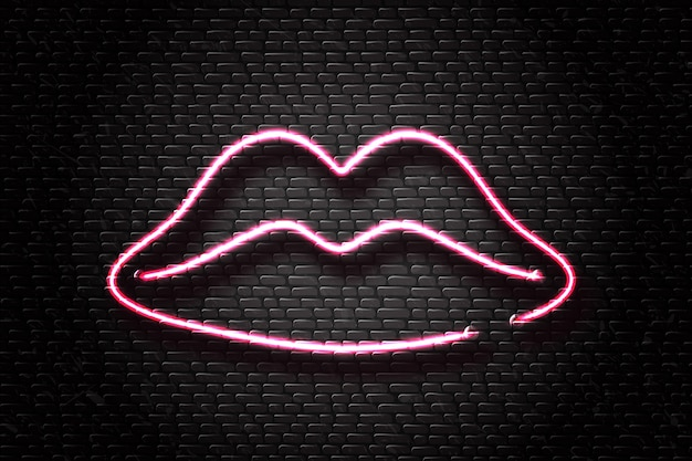 Realistic  neon retro sign of lips for decoration and covering on the wall background. concept of cosmetics and beauty.