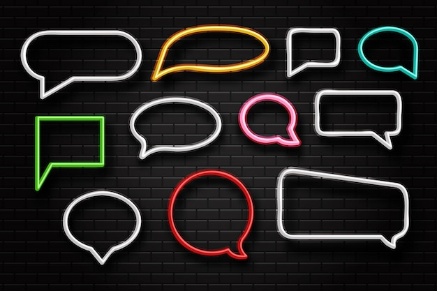 Realistic  neon retro speech bubble sign for decoration and covering on the wall background.