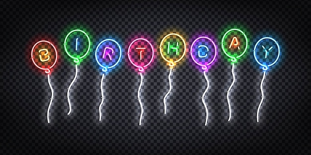 Realistic  neon sign of birthday logo for invitation