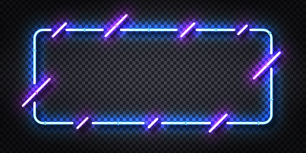 Realistic  neon sign of blue and purple frame for template and layout.
