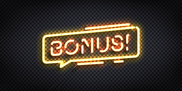 Realistic  neon sign of bonus logo