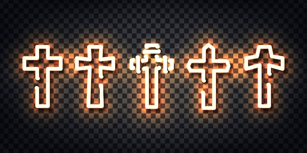 Realistic  neon sign of cross logo for template decoration and layout covering on the transparent background.
