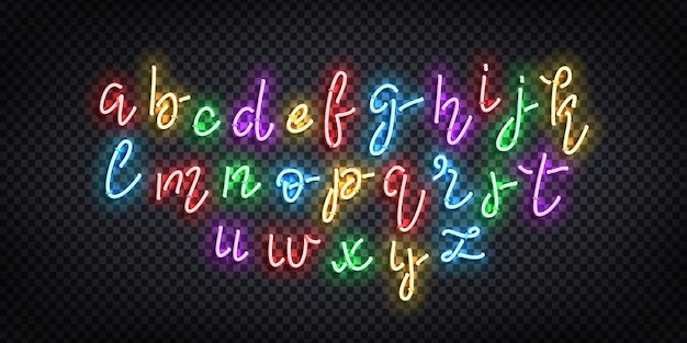 Realistic  neon sign of cursive font for template decoration and covering on the transparent background.