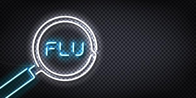Realistic  neon sign of flu logo