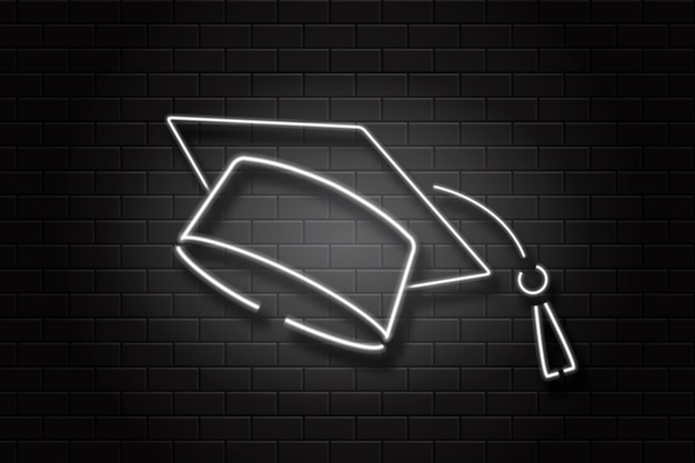 Realistic  neon sign graduation cap on the wall background for decoration and covering. concept of education, graduation and back to school.