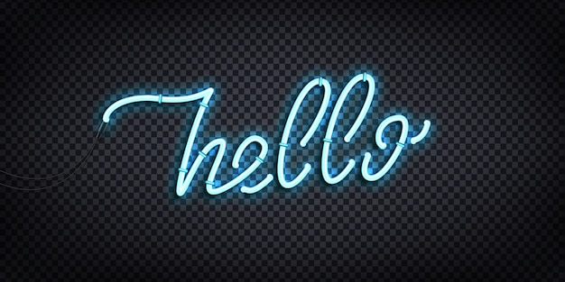 Realistic  neon sign of hello greeting and welcoming concept for decoration and covering on the transparent background.