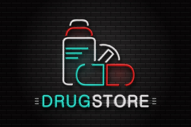 Realistic  neon sign logo for drugstore for decoration on the wall background.