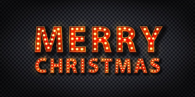 Realistic  neon sign of merry christmas marquee logo