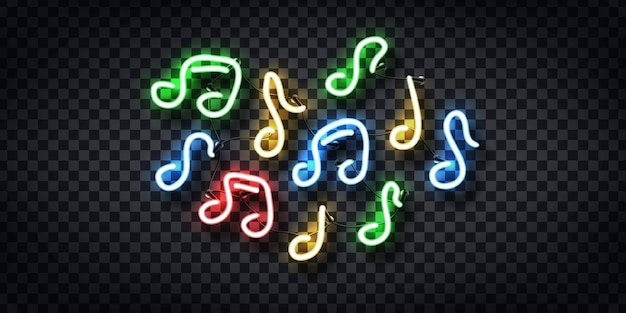 Realistic  neon sign of notes for decoration and covering on the transparent background. concept of music and dj.