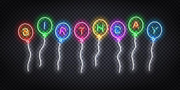Реалистичный неоновый знак дня рождения логотипа для приглашения