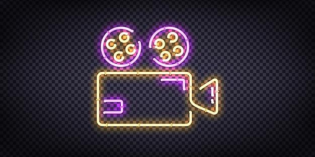 Реалистичная неоновая вывеска логотипа cinema для оформления шаблона и покрытия приглашения на прозрачном фоне.
