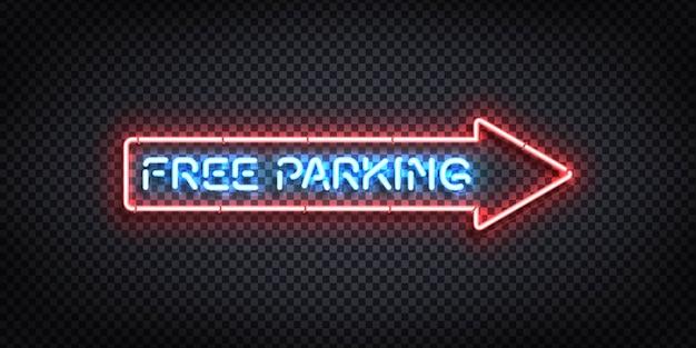 Реалистичная неоновая вывеска со стрелкой логотипа бесплатной парковки