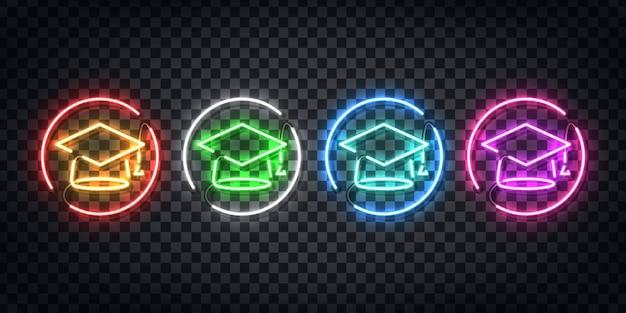 Реалистичный неоновый знак выпускного логотипа для оформления шаблона и покрытия макета на прозрачном фоне.