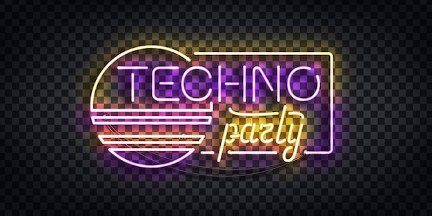 テンプレートの装飾と透明な背景をカバーする招待状のテクノパーティーのロゴの現実的なネオンサイン。ディスコとレイブのコンセプト。