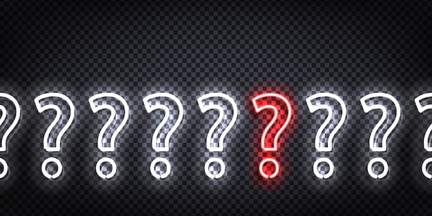 Realistic  neon sign of question flyer