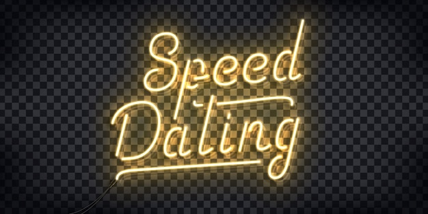 Realistic  neon sign of speed dating logo for invitation decoration and template covering on the transparent background.