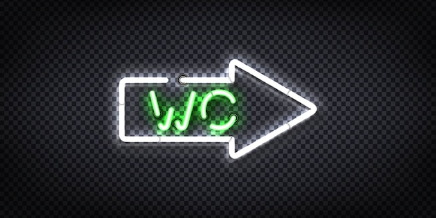 Realistic  neon sign of wc arrow