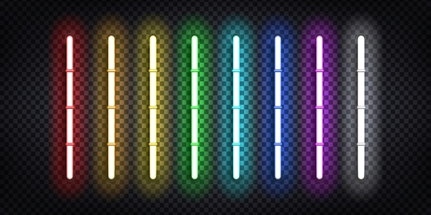 Realistic  neon tubes for decoration and covering on the transparent background.