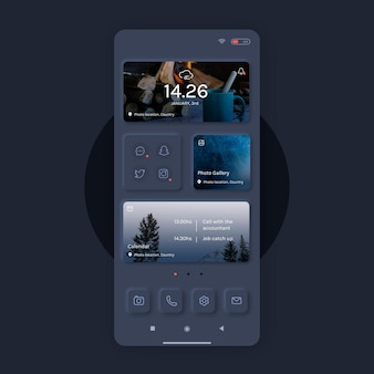 Realistic neumorph home screen template for mobile phone
