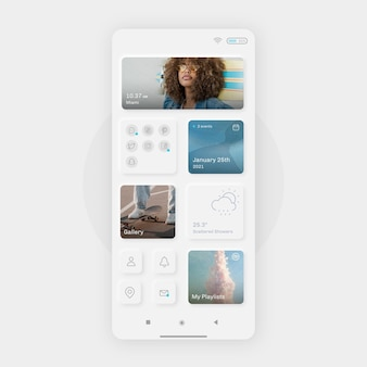 Realistic neumorph home screen template for smartphone