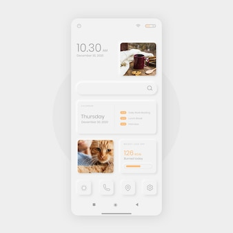 Realistic neumorph home screen template