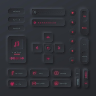 Realistic neumorphic design user interface elements