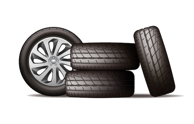 Realistic new black car wheels stack, four tires
