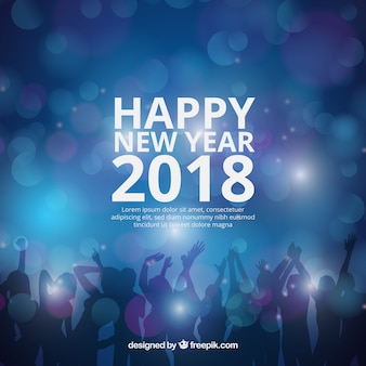 Realistic new year 2018 background with party people silhouette