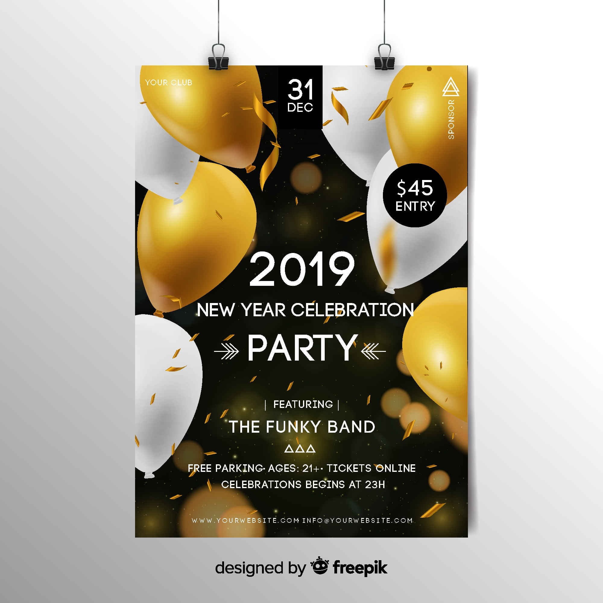 Realistic new year 2019 flyer template