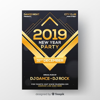 Realistic new year 2019 party flyer template
